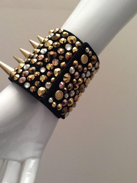 Women's Giuseppe Zanotti Studded Leather Cuff Bracelet For Sale