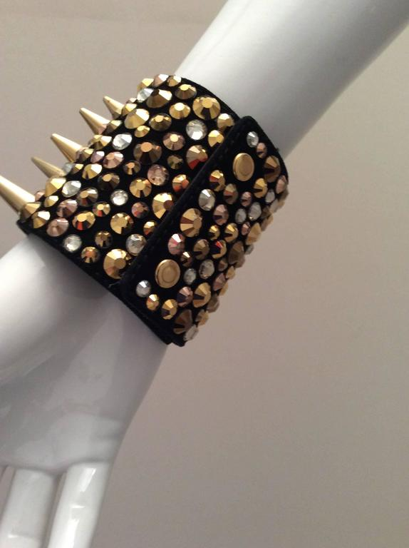 Giuseppe Zanotti Studded Leather Cuff Bracelet For Sale 3