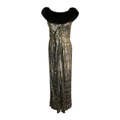 Bob Mackie I. Magnin Luscious Golden Velvet Evening Gown with Black Fox Fur
