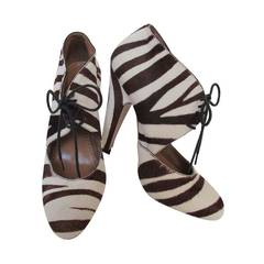 Alaia Brown and White Zebra Shoes