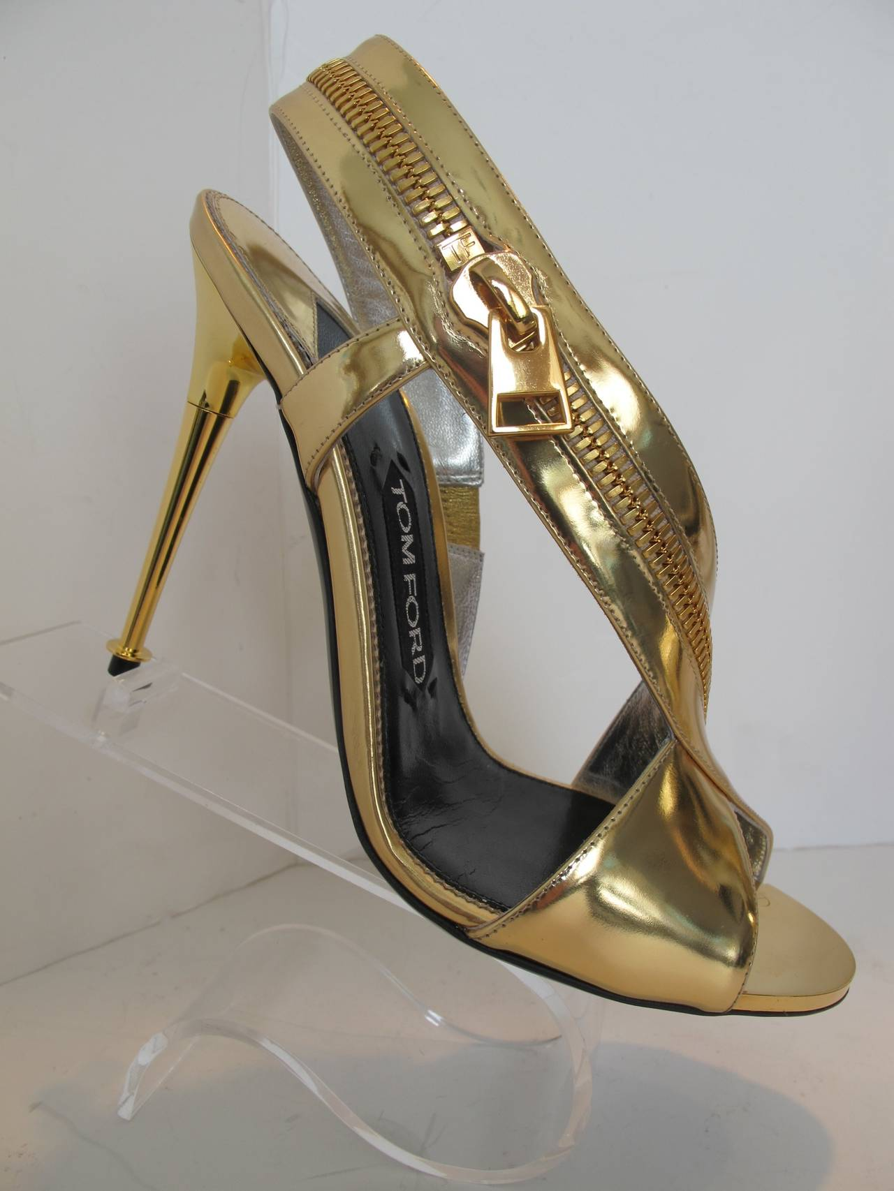 2014 Tom Ford Gold Sling Back Sandal With Wrap Around