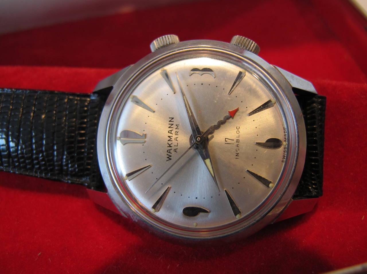 """Wakmann Stainless Steel Alarm """"Incabloc"""" Wristwatch 4"""