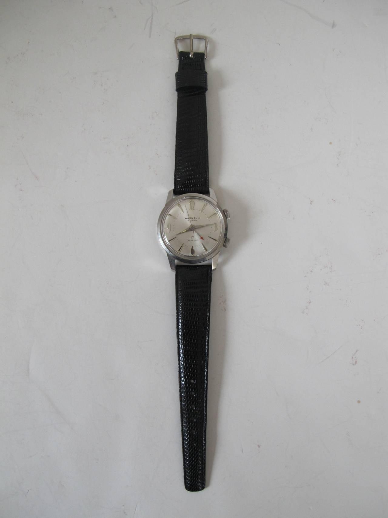 """Wakmann Stainless Steel Alarm """"Incabloc"""" Wristwatch 2"""
