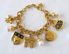 1980's Karl Lagerfeld Gold-Tone and Pearl Paris Inspired Charm Bracelet