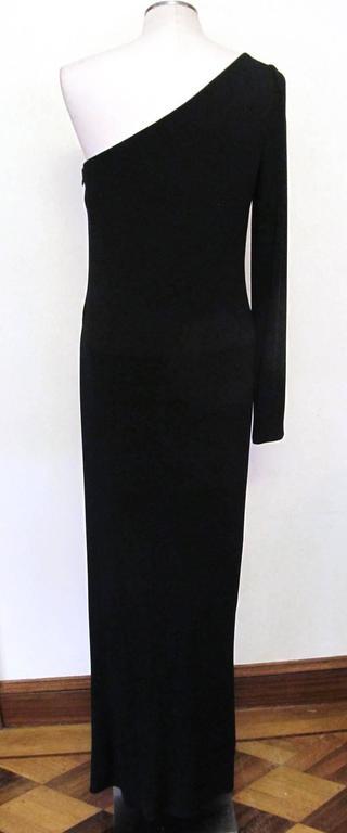 Ralph Lauren Collection Runway One Shoulder Black Evening Gown 4