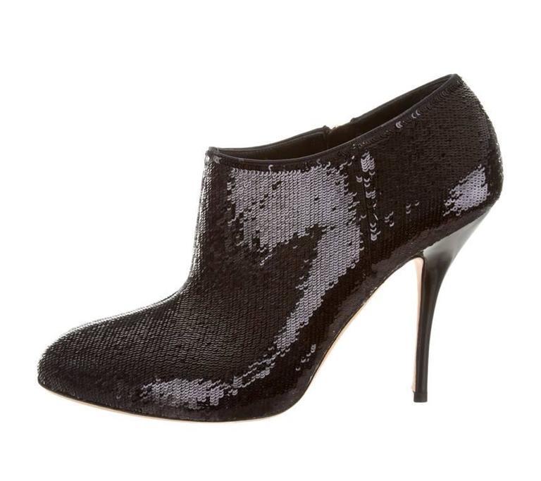 New Gucci Black Sequin-Embellished Booties 2