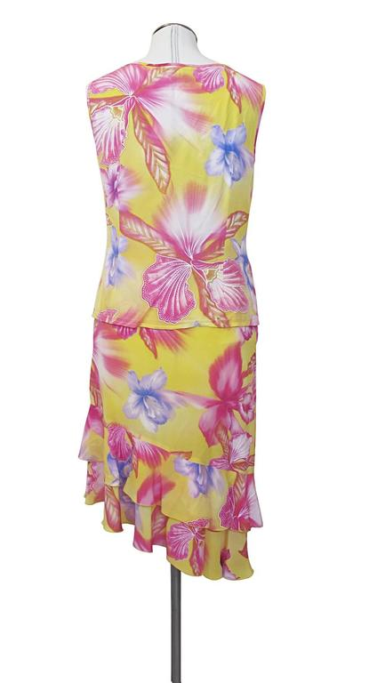 Escada Yellow Pink Blue Silk Tropical Floral Printed Silk Skirt and Blouse Set 4