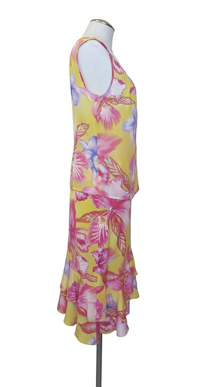 Escada Yellow Pink Blue Silk Tropical Floral Printed Silk Skirt and Blouse Set 3