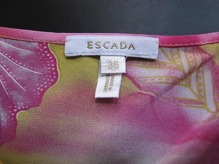 Escada Yellow Pink Blue Silk Tropical Floral Printed Silk Skirt and Blouse Set 5