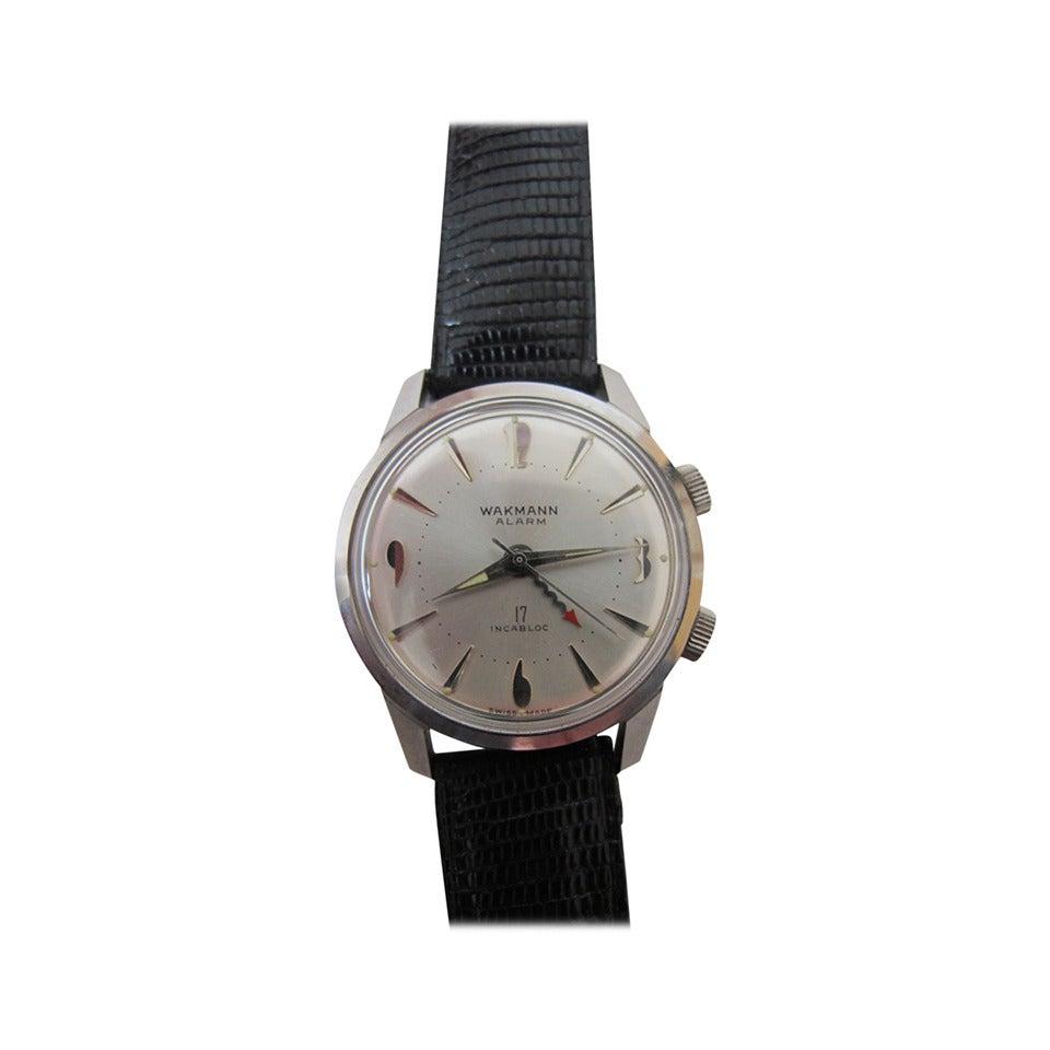 """Wakmann Stainless Steel Alarm """"Incabloc"""" Wristwatch 1"""