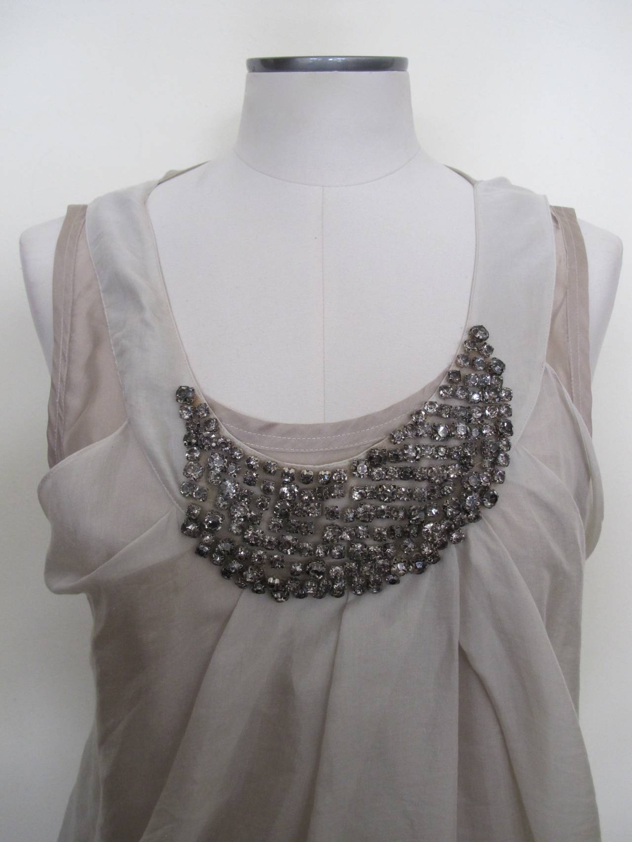 Vera Wang Light Taupe Jeweled Blouse 4
