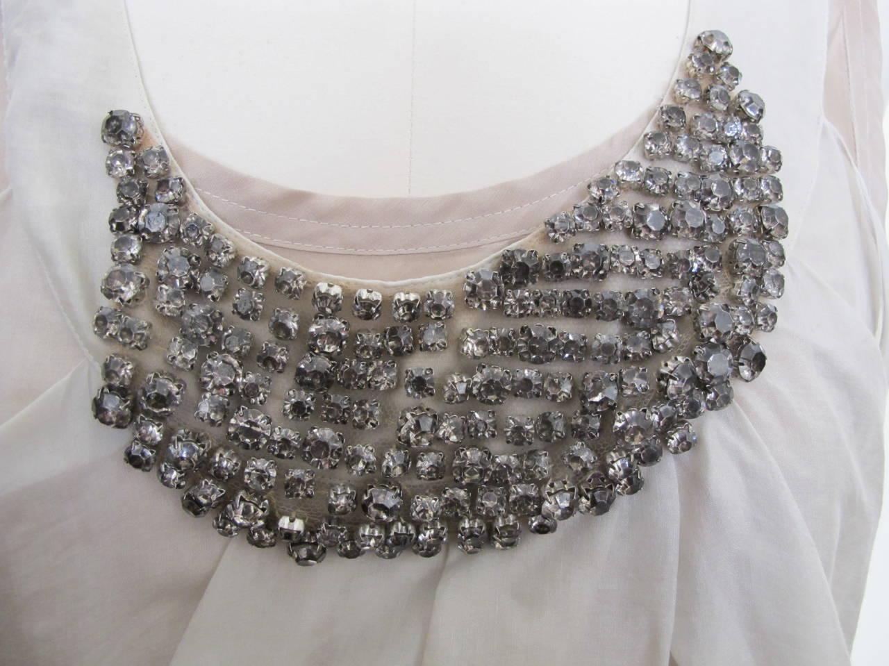 Vera Wang Light Taupe Jeweled Blouse 5
