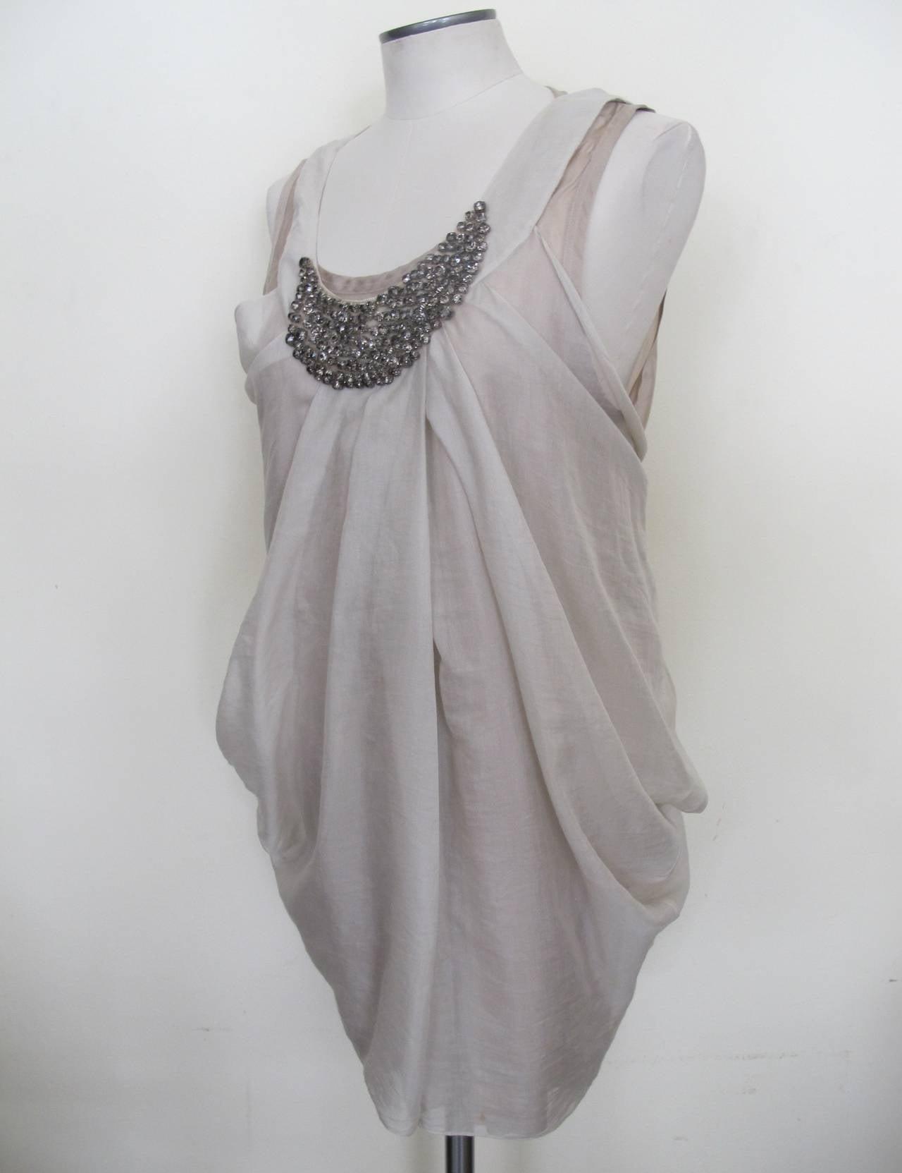 Vera Wang Light Taupe Jeweled Blouse 2