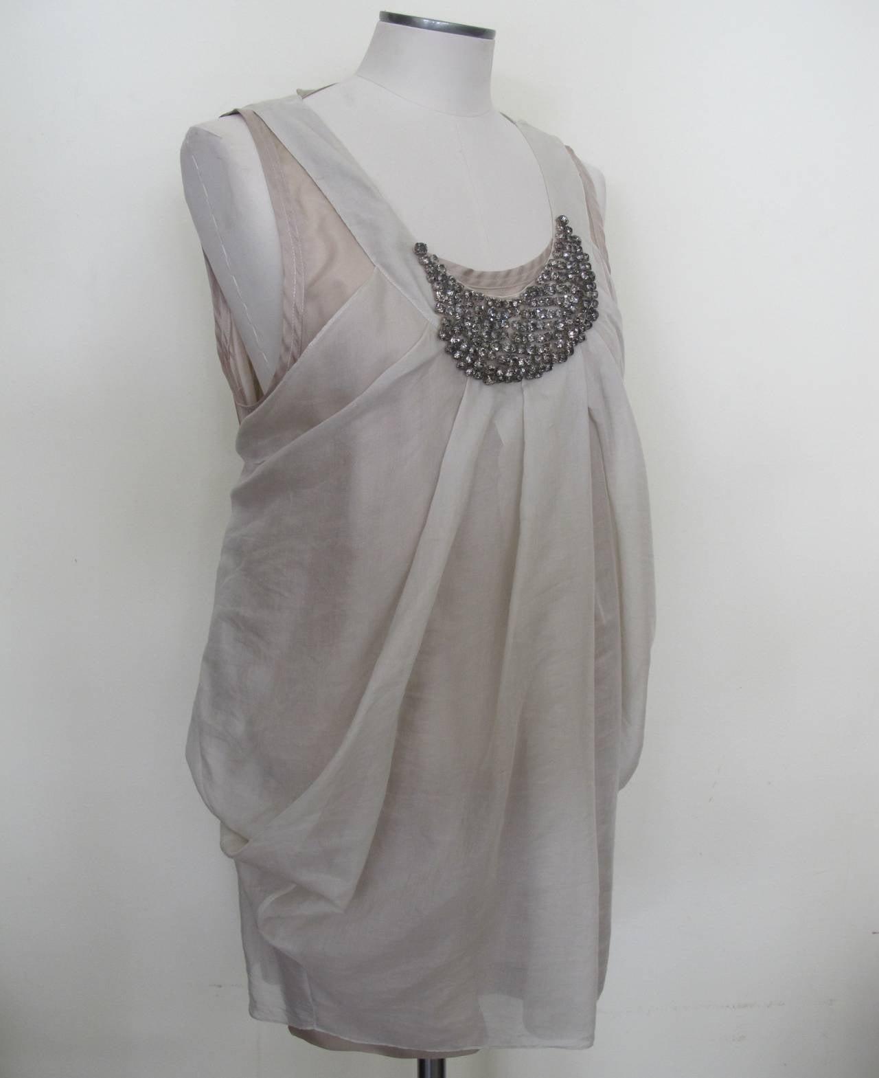 Vera Wang Light Taupe Jeweled Blouse 3