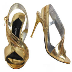 2014 Tom Ford Gold Sling Back Sandal with Wrap Around Zipper
