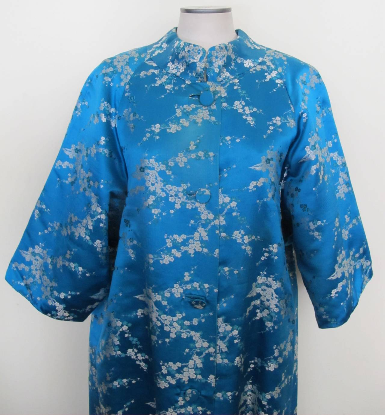 1945 Family Japanese Heirloom Turquoise Blue Robe 4