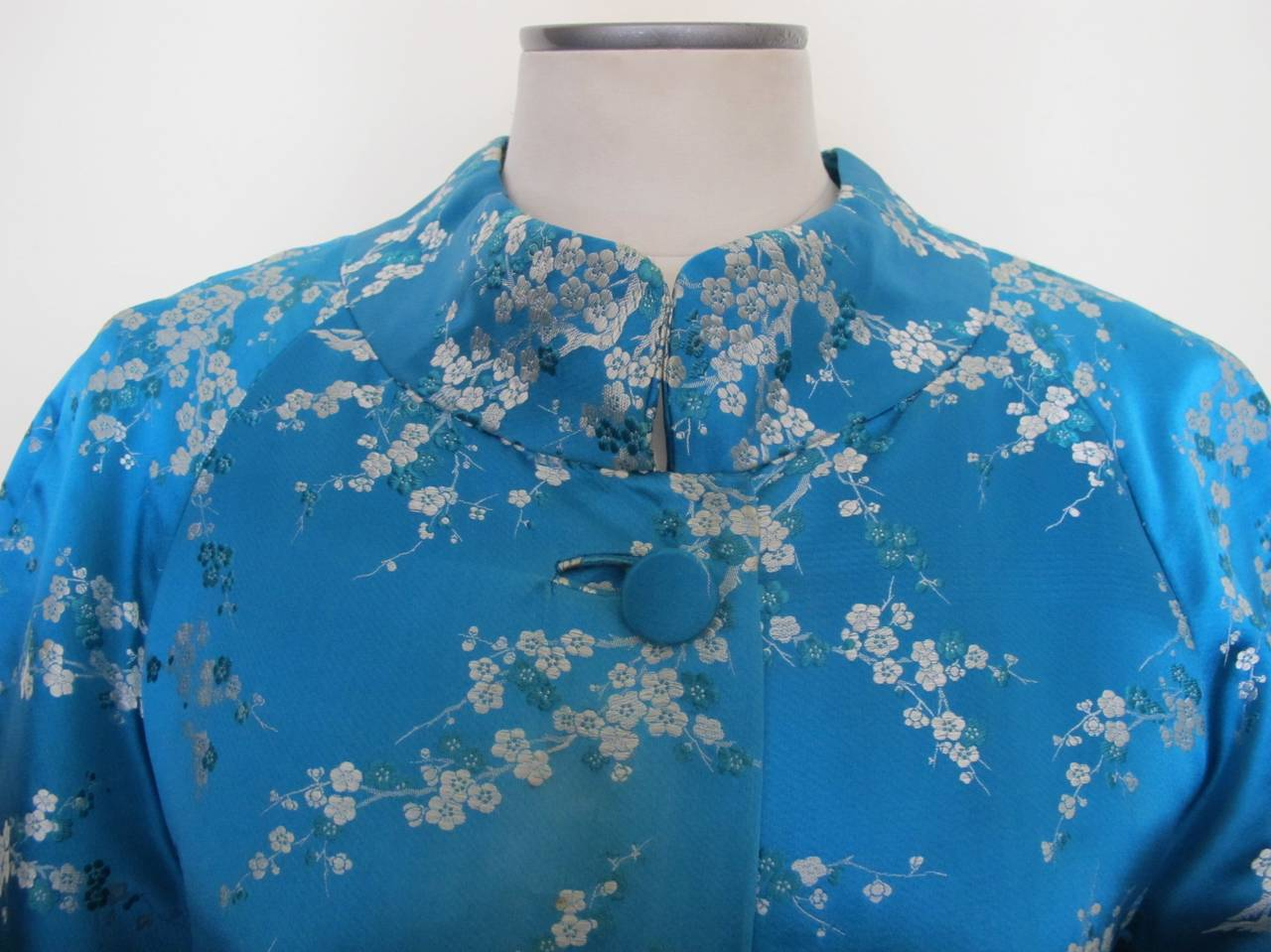 1945 Family Japanese Heirloom Turquoise Blue Robe 5