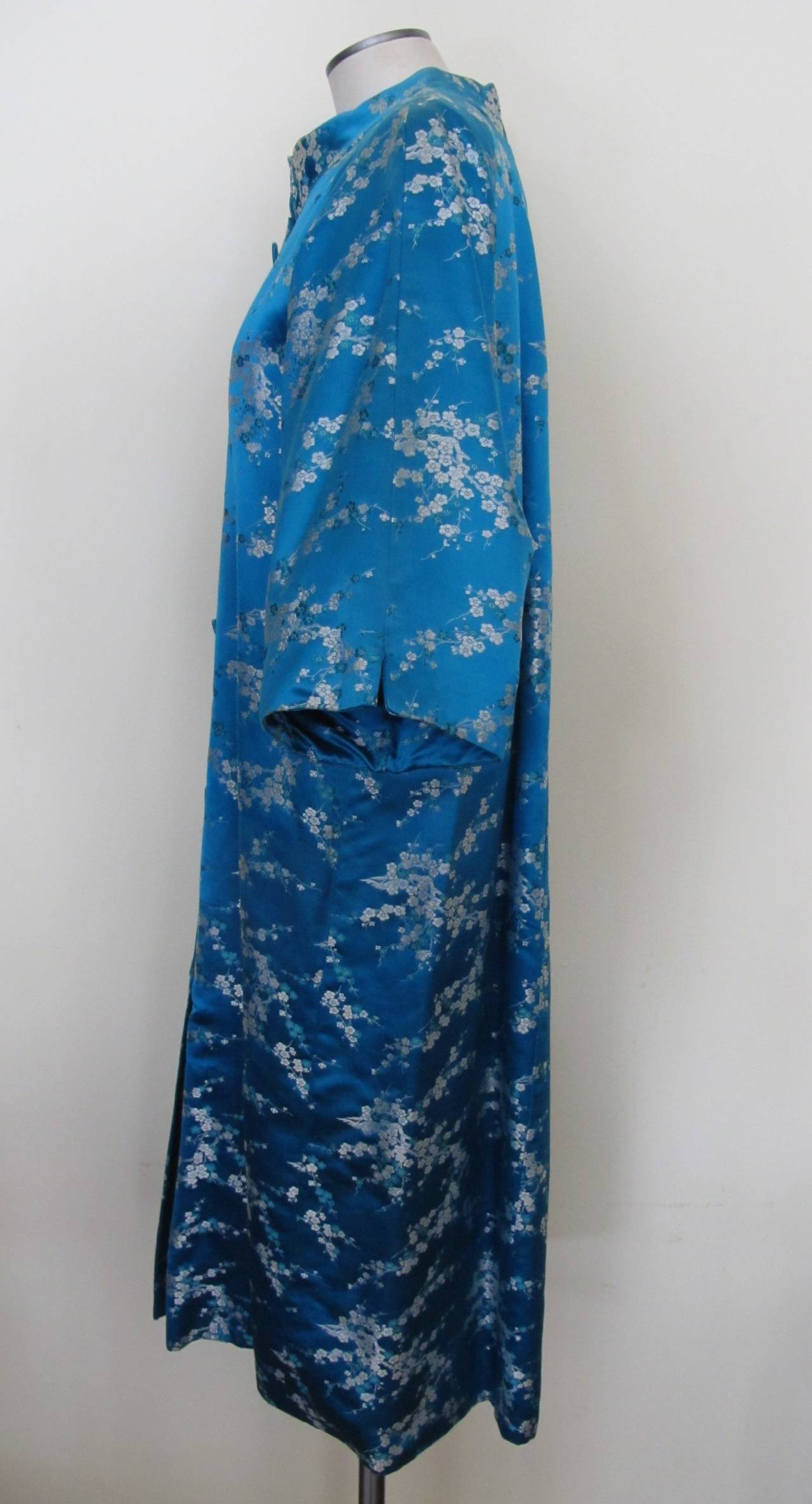 1945 Family Japanese Heirloom Turquoise Blue Robe 2