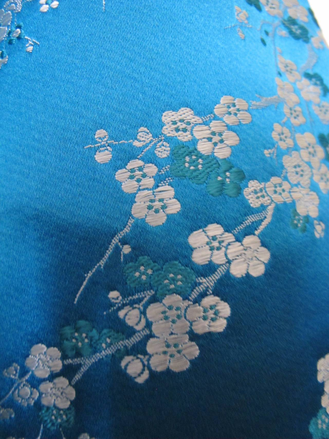 1945 Family Japanese Heirloom Turquoise Blue Robe 7