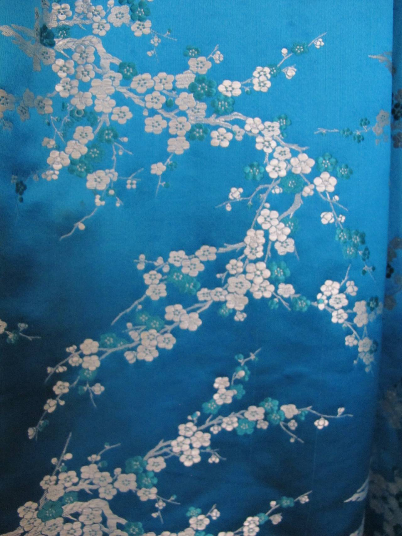 1945 Family Japanese Heirloom Turquoise Blue Robe 8