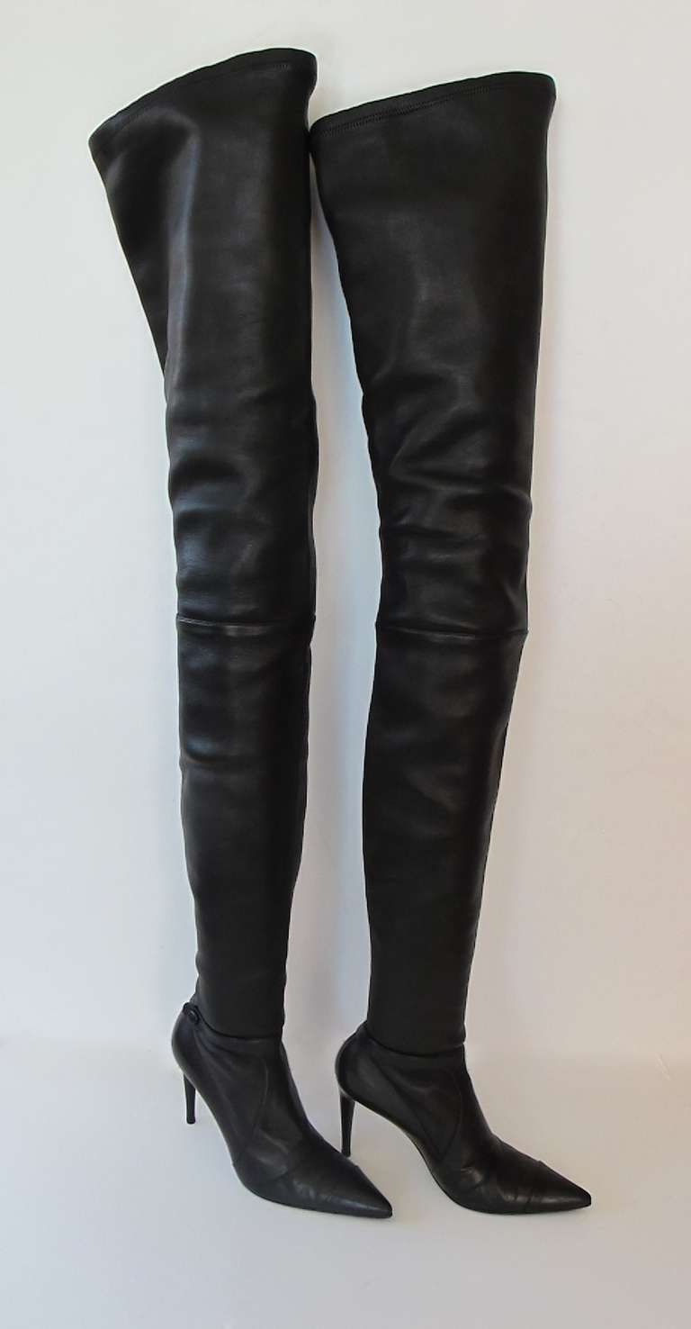 chanel knee high boots. chanel leather boots knee high e