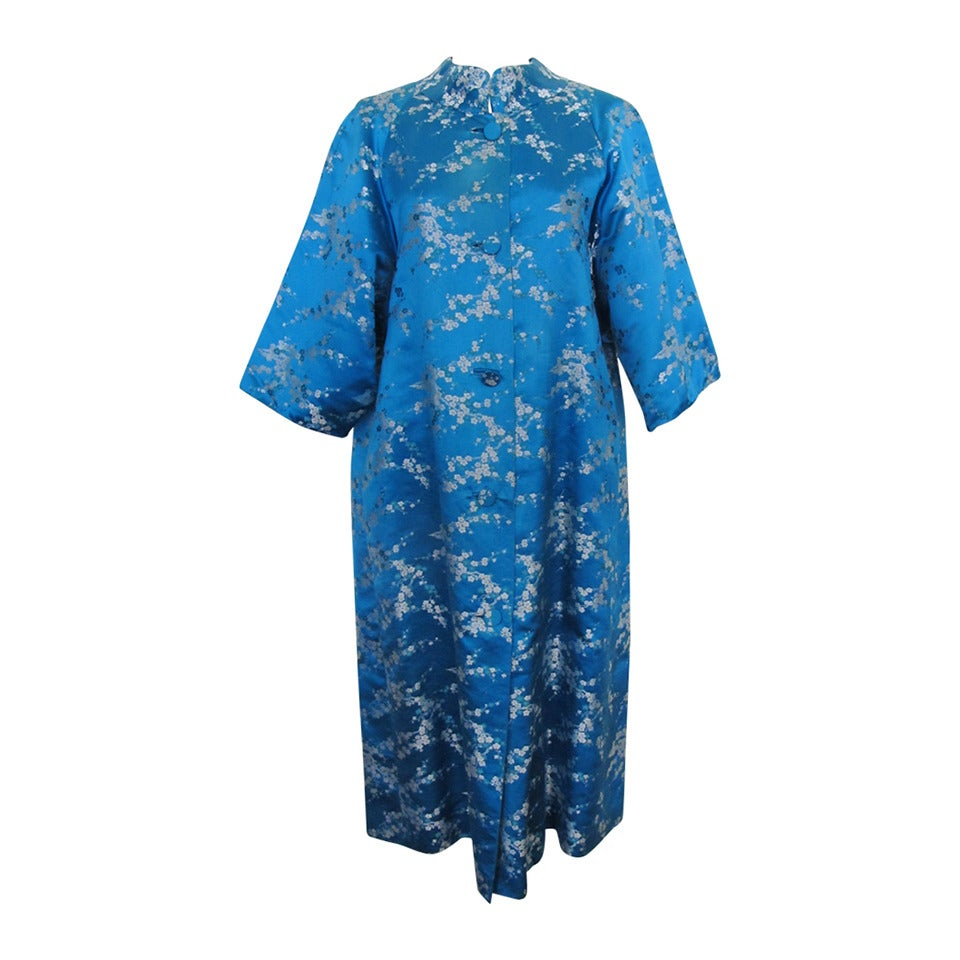 1945 Family Japanese Heirloom Turquoise Blue Robe 1