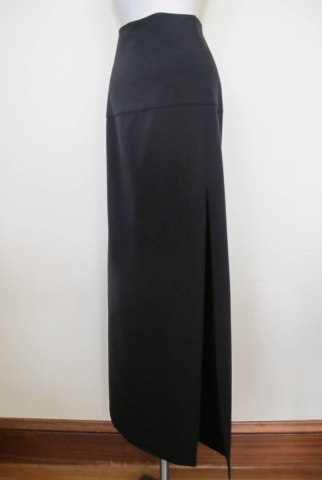 Costume National Chic Long Black Skirt with Slit For Sale ...