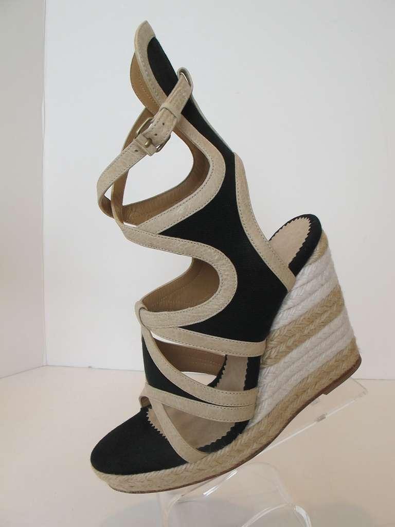 Balenciaga Black Canvas And Beige Leather Espadrille Wedge