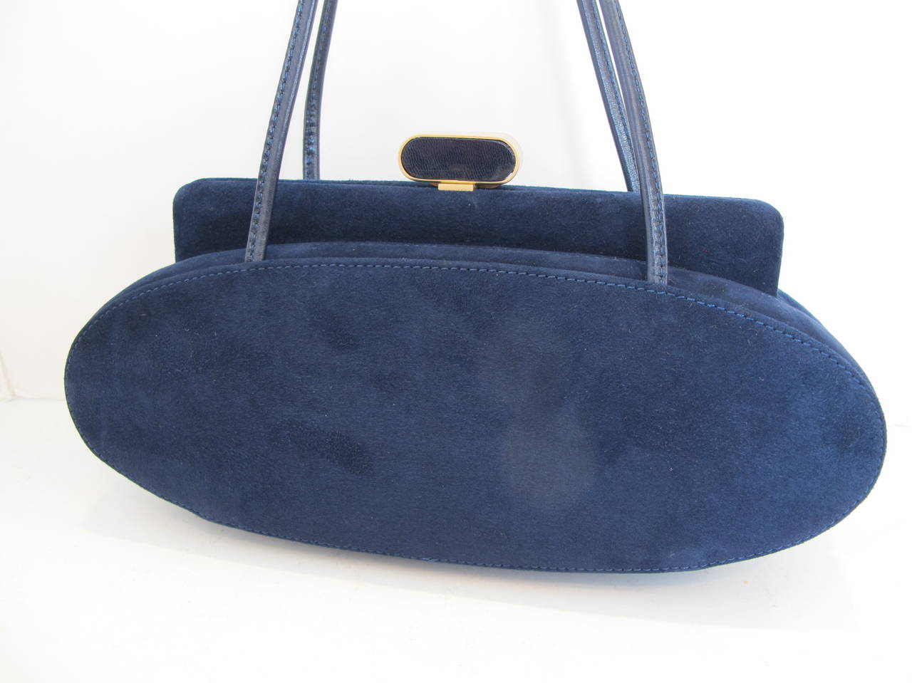 1950's Charles Jourdan Navy Blue Suede Handbag For Sale at 1stdibs
