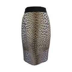 Giambattista Valli Silk Leopard Pencil Skirt