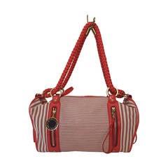 Stella McCartney Red and White Stripe Canvas Handbag