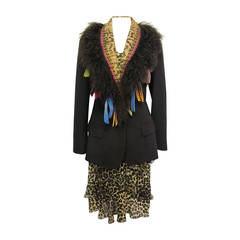 John Galliano Iconic Bias Cut Leopard Dress with Chic Jacket