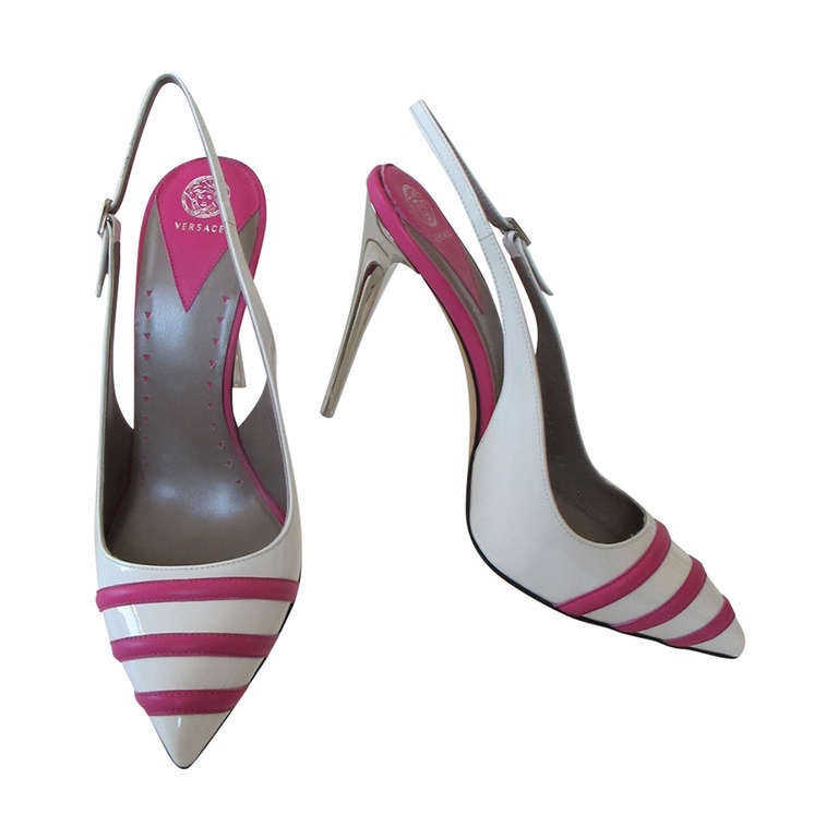 New Versace White Patent Leather Shoes with Fuchsia Strips 1