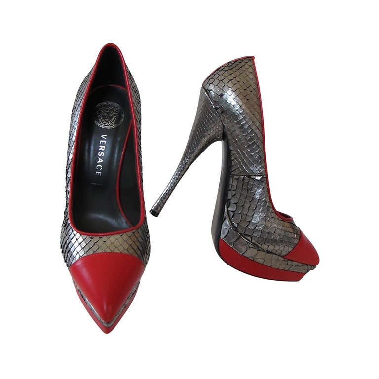 New Versace Classic Python Silver and Red Shoes For Sale at 1stdibs