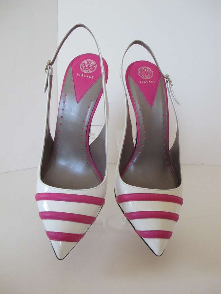 New Versace White Patent Leather Shoes with Fuchsia Strips 3