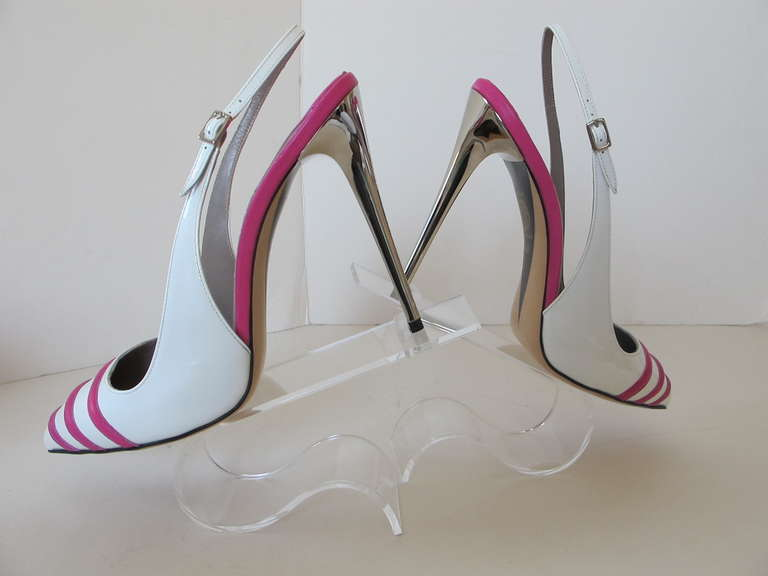 New Versace White Patent Leather Shoes with Fuchsia Strips 4