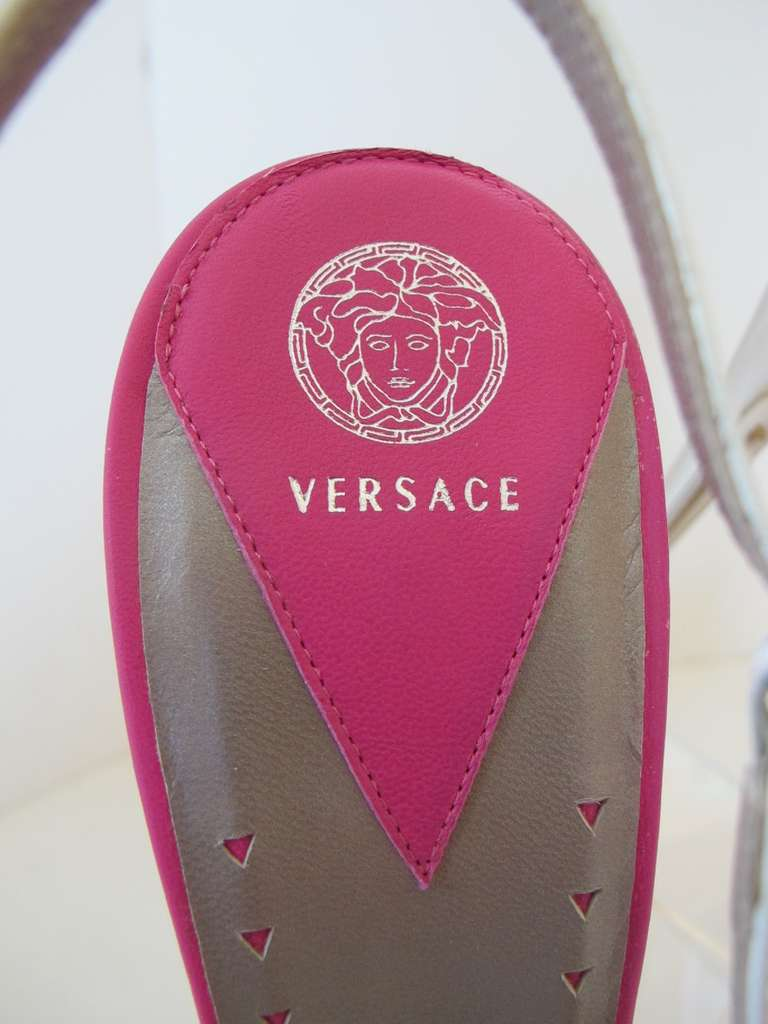 New Versace White Patent Leather Shoes with Fuchsia Strips 9