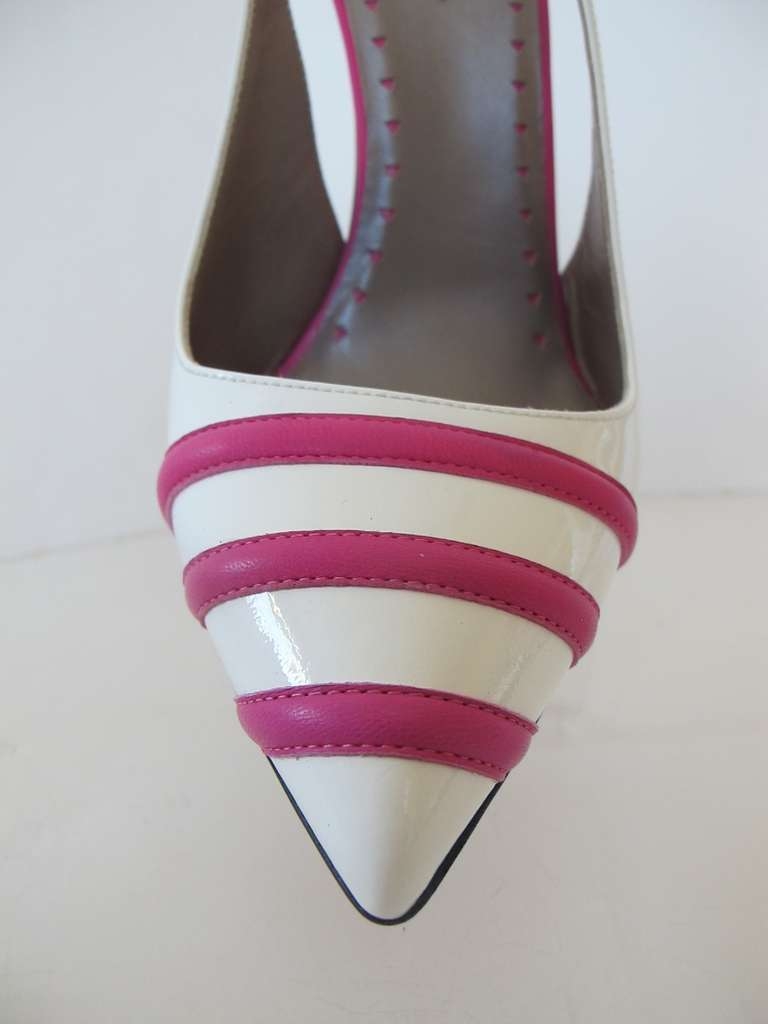 New Versace White Patent Leather Shoes with Fuchsia Strips 7