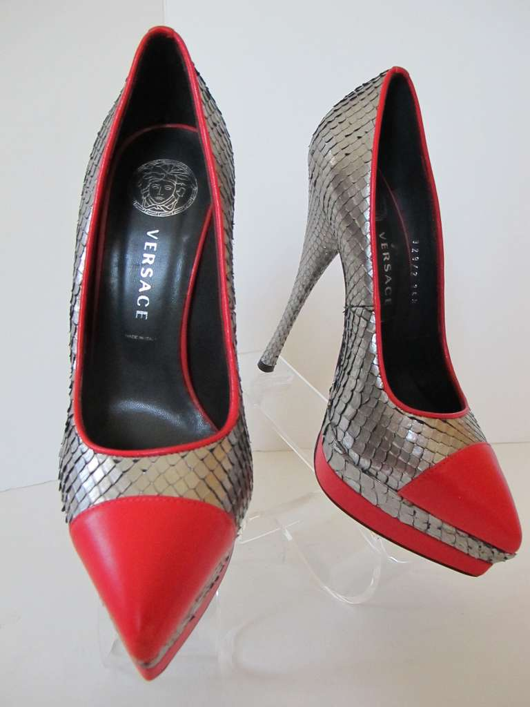 New Versace Classic Python Silver and Red Shoes 2