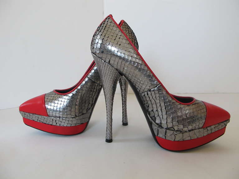 New Versace Classic Python Silver and Red Shoes 4