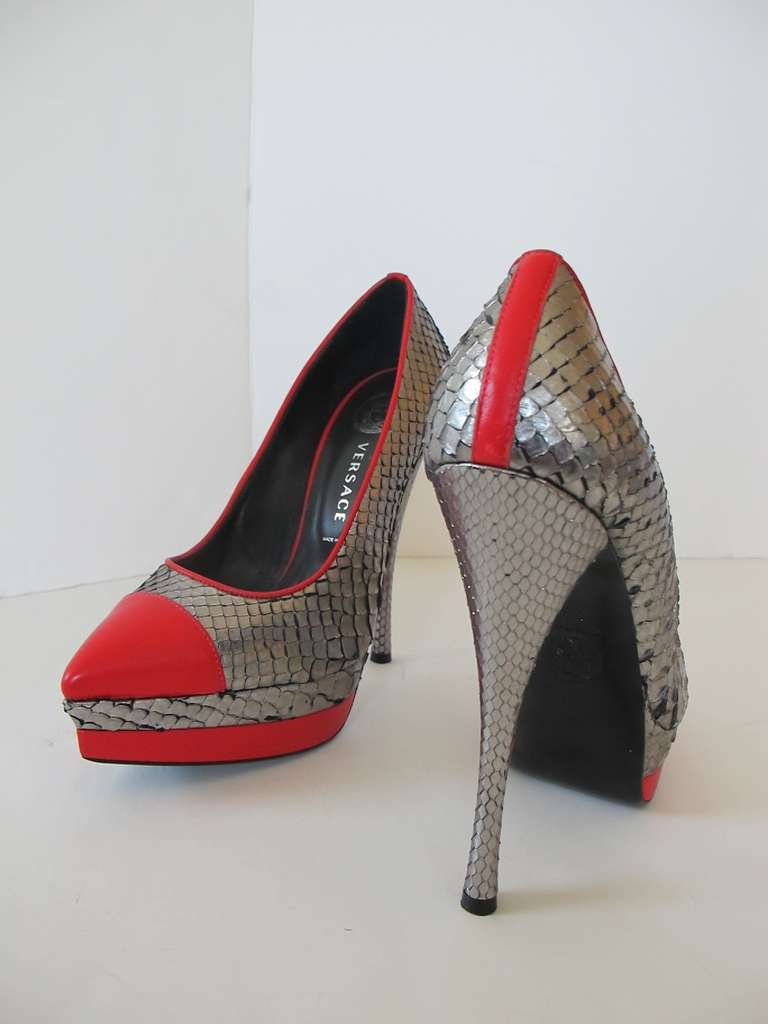 New Versace Classic Python Silver and Red Shoes 7