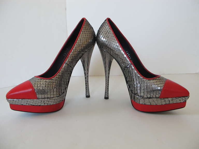 New Versace Classic Python Silver and Red Shoes 6