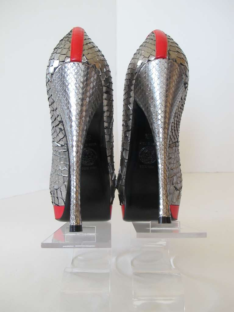 New Versace Classic Python Silver and Red Shoes 5
