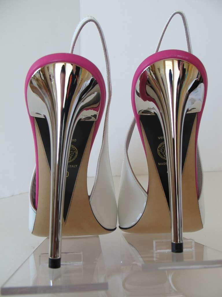 New Versace White Patent Leather Shoes with Fuchsia Strips 5
