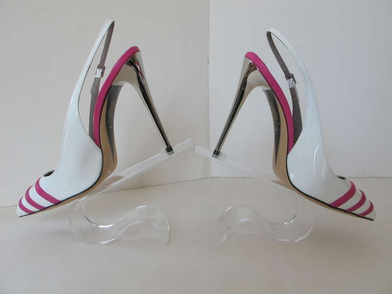 New Versace White Patent Leather Shoes with Fuchsia Strips 2