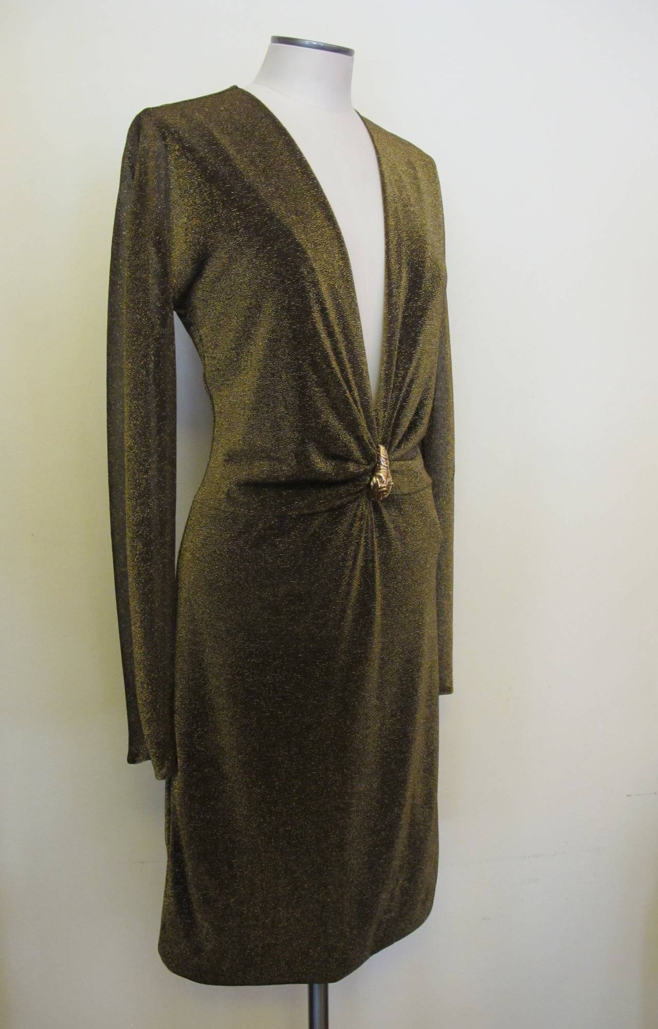 """New Tom Ford """"Gucci"""" Metallic Gold Cocktail Dress with Tiger Ornamentation 3"""
