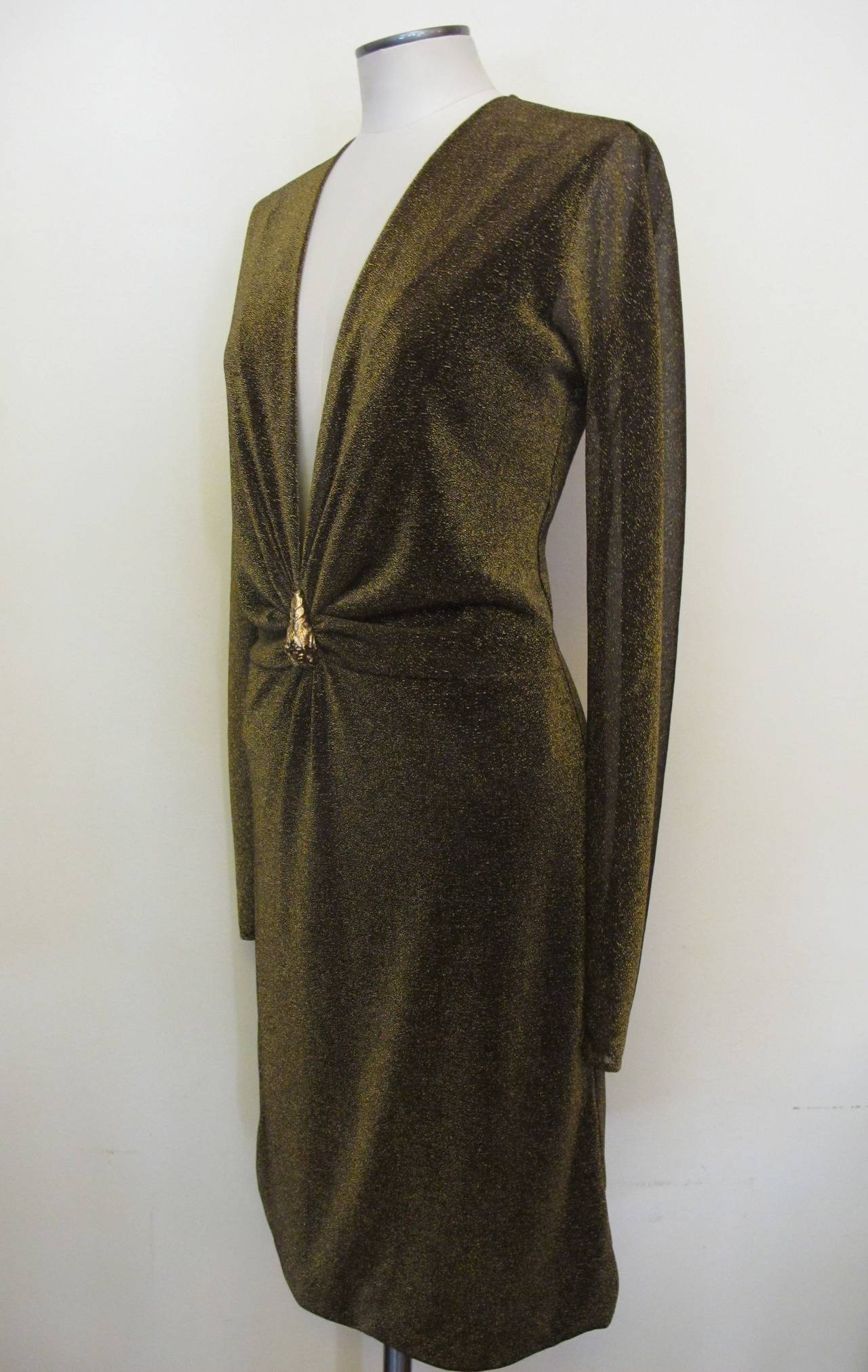 """New Tom Ford """"Gucci"""" Metallic Gold Cocktail Dress with Tiger Ornamentation 2"""