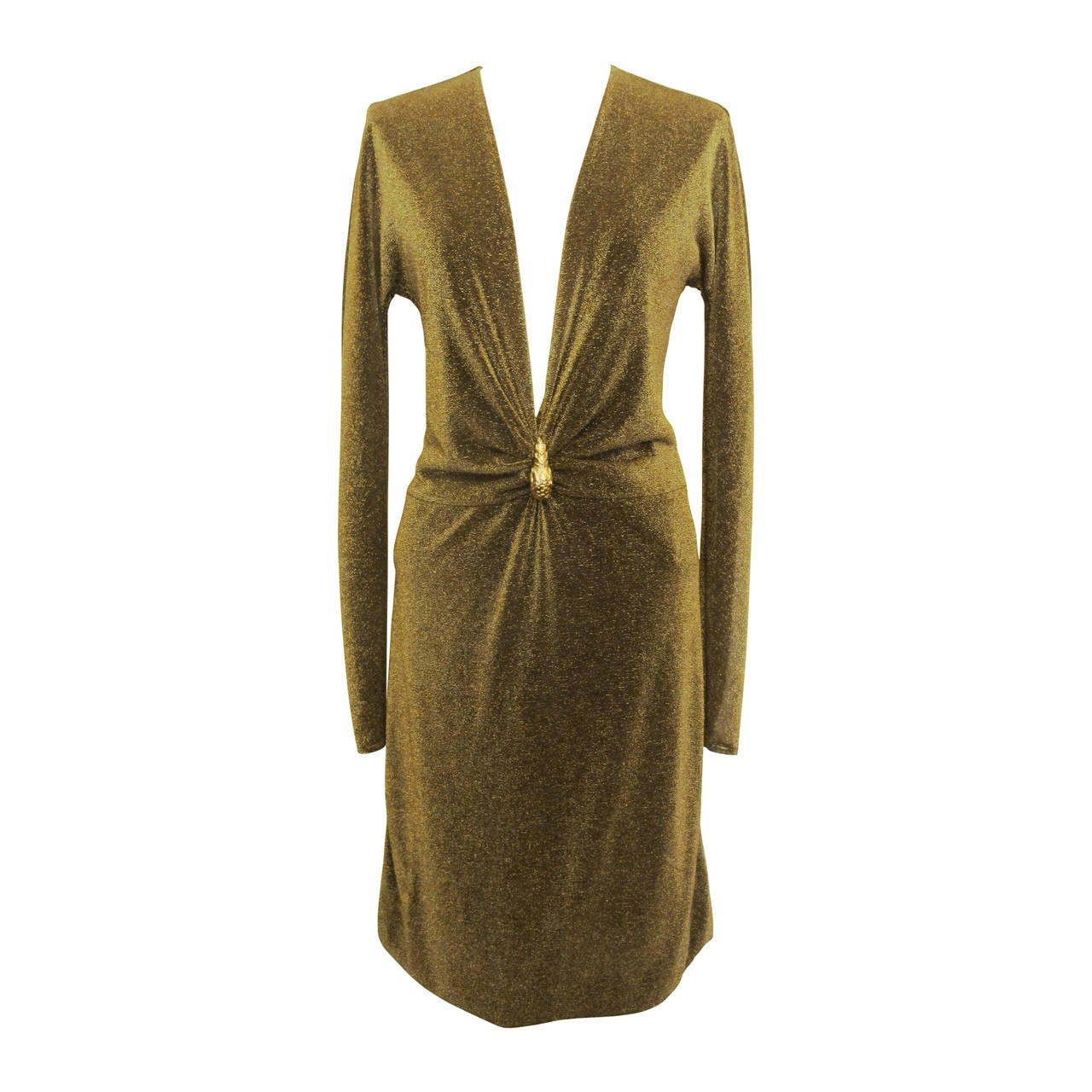 """New Tom Ford """"Gucci"""" Metallic Gold Cocktail Dress with Tiger Ornamentation 1"""