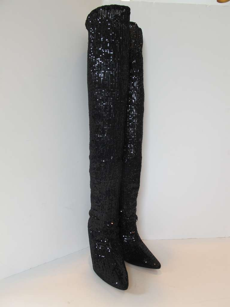 New Manolo Blahnik Pacalare Black Sequin Boots For Sale At