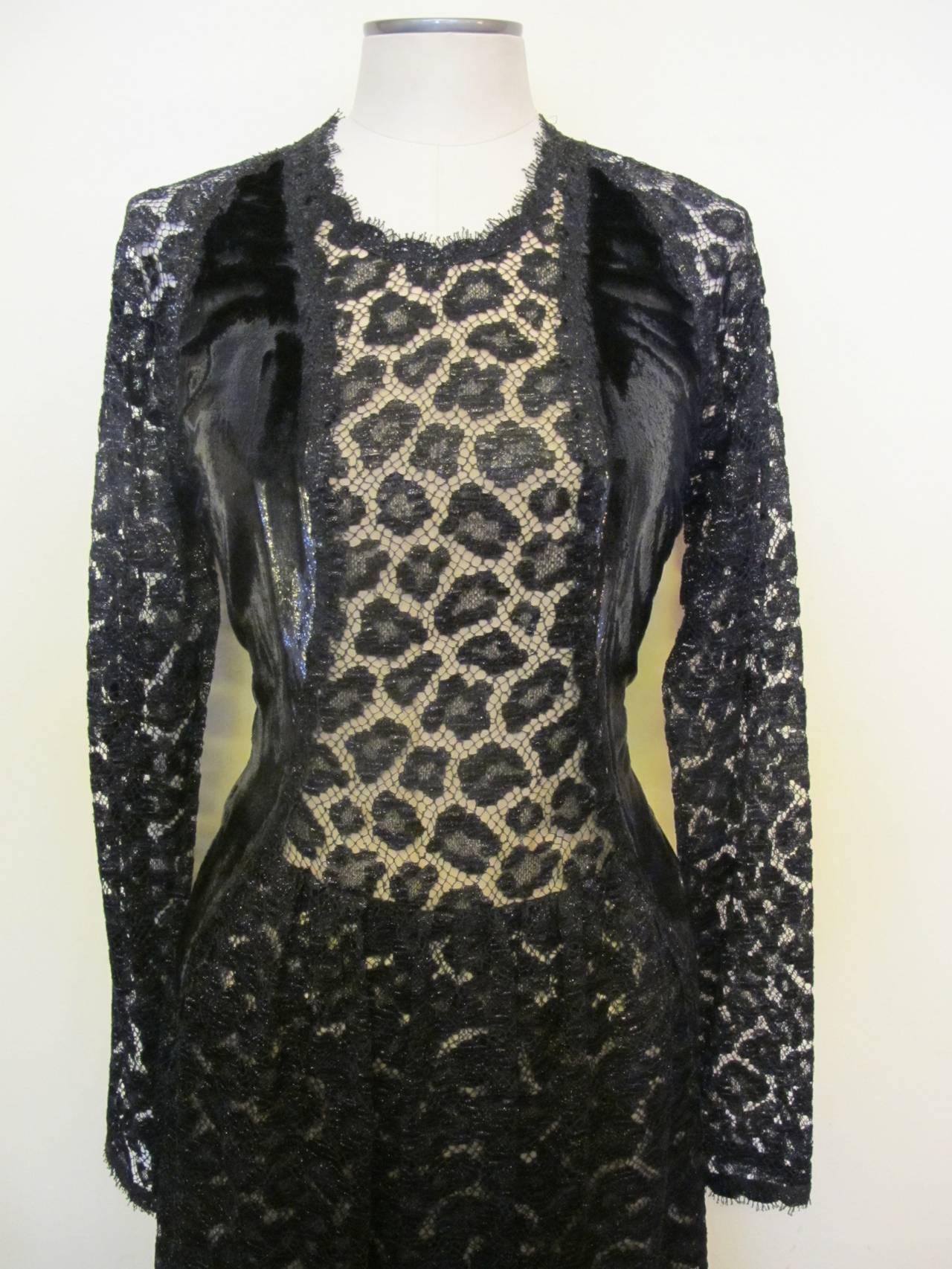 Geoffrey Beene Black Lace Cocktail Dress with Leopard Design 6
